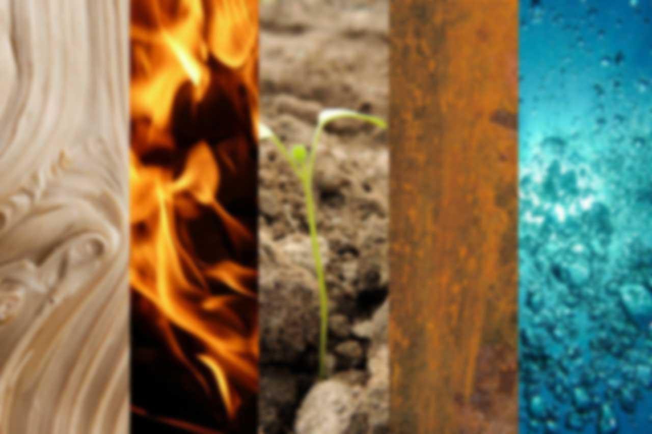 balans 5 transformatie-elementen aarde hout vuur water metaal
